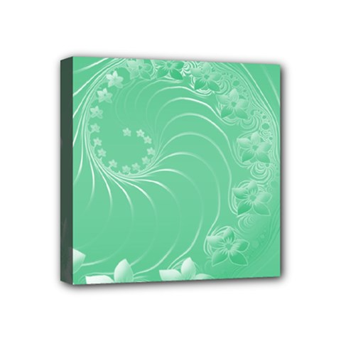Light Green Abstract Flowers Mini Canvas 4  X 4  (framed)