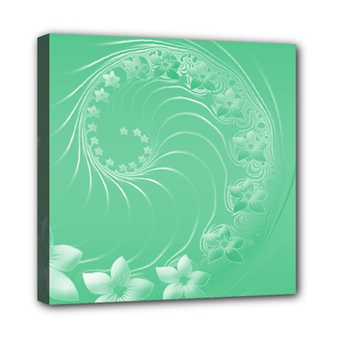 Light Green Abstract Flowers Mini Canvas 8  X 8  (framed)