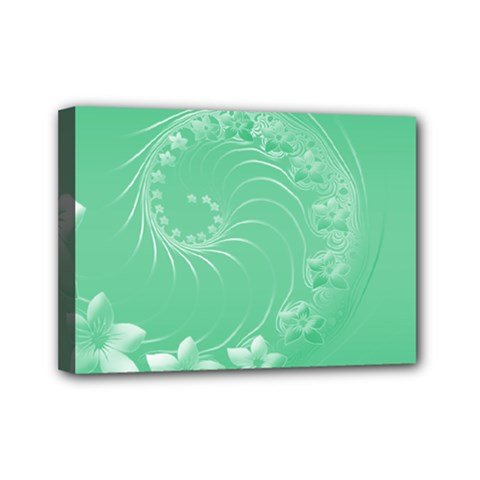 Light Green Abstract Flowers Mini Canvas 7  X 5  (framed)