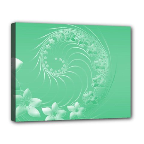 Light Green Abstract Flowers Canvas 14  x 11  (Framed)