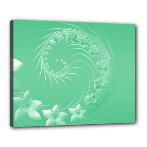 Light Green Abstract Flowers Canvas 20  X 16  (framed)