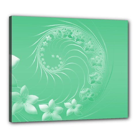 Light Green Abstract Flowers Canvas 24  X 20  (framed)