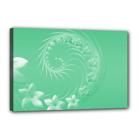 Light Green Abstract Flowers Canvas 18  x 12  (Framed)