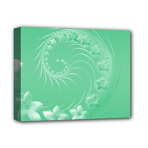 Light Green Abstract Flowers Deluxe Canvas 14  X 11  (framed)