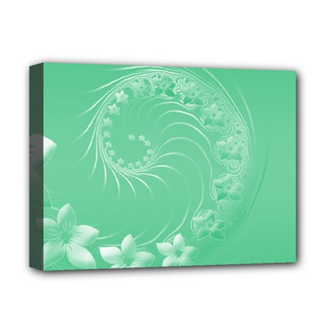 Light Green Abstract Flowers Deluxe Canvas 16  X 12  (framed)