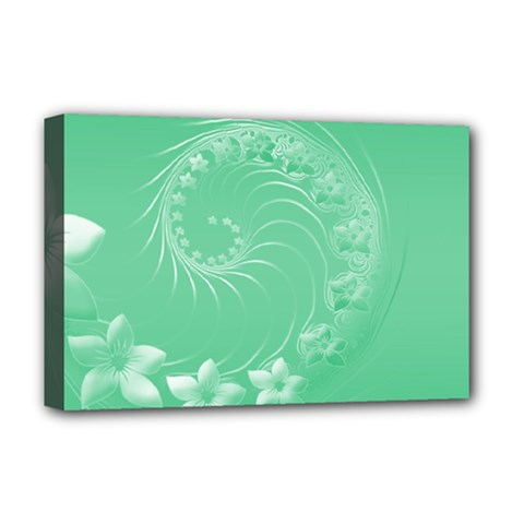 Light Green Abstract Flowers Deluxe Canvas 18  X 12  (framed)