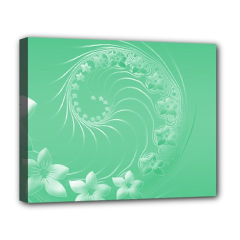 Light Green Abstract Flowers Deluxe Canvas 20  X 16  (framed)