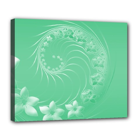 Light Green Abstract Flowers Deluxe Canvas 24  x 20  (Framed)
