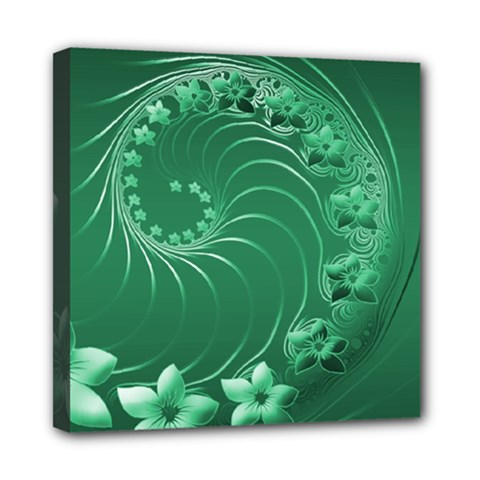 Green Abstract Flowers Mini Canvas 8  x 8  (Framed)