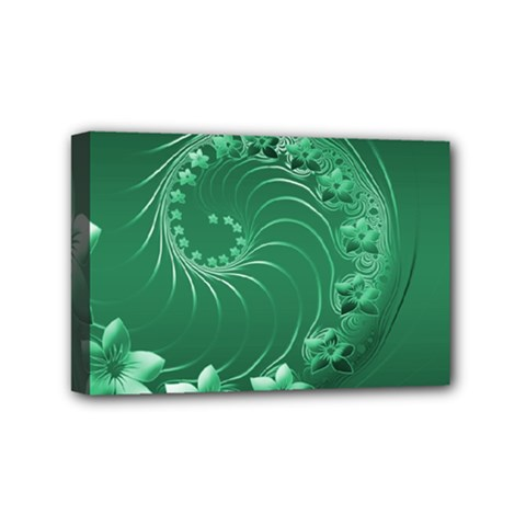 Green Abstract Flowers Mini Canvas 6  x 4  (Framed)