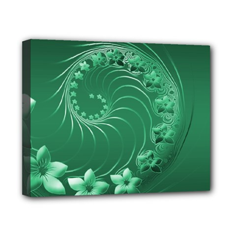 Green Abstract Flowers Canvas 10  X 8  (framed)