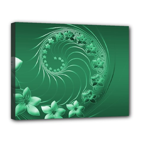 Green Abstract Flowers Canvas 14  x 11  (Framed)
