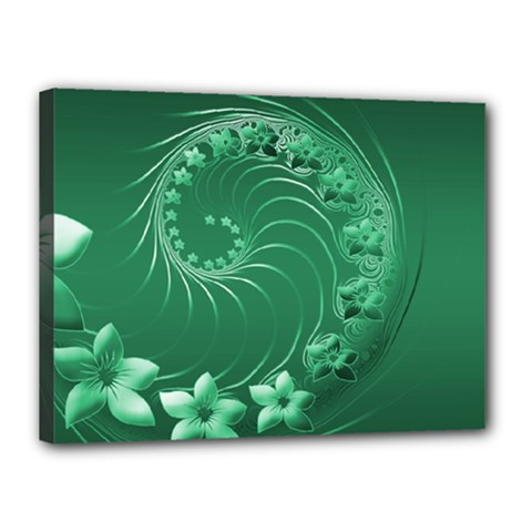 Green Abstract Flowers Canvas 16  X 12  (framed)