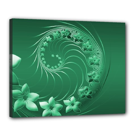Green Abstract Flowers Canvas 20  x 16  (Framed)