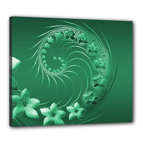 Green Abstract Flowers Canvas 24  x 20  (Framed)