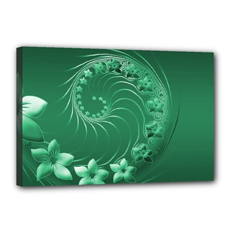 Green Abstract Flowers Canvas 18  x 12  (Framed)
