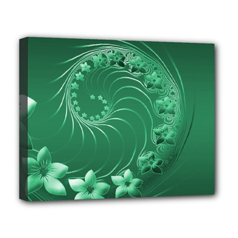 Green Abstract Flowers Deluxe Canvas 20  X 16  (framed)