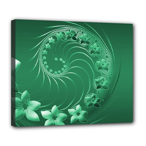 Green Abstract Flowers Deluxe Canvas 24  X 20  (framed)