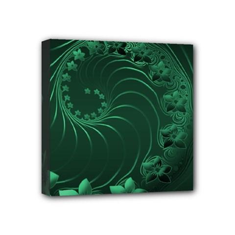 Dark Green Abstract Flowers Mini Canvas 4  x 4  (Framed)