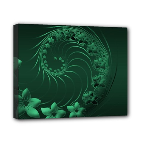 Dark Green Abstract Flowers Canvas 10  X 8  (framed)