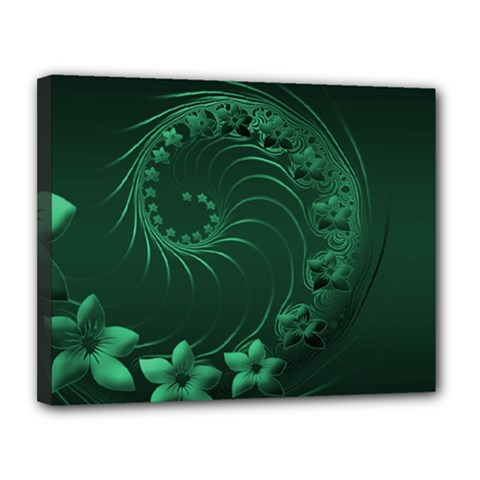 Dark Green Abstract Flowers Canvas 14  x 11  (Framed)