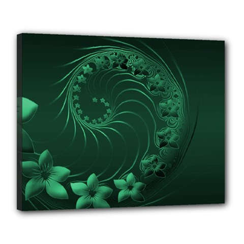 Dark Green Abstract Flowers Canvas 20  x 16  (Framed)