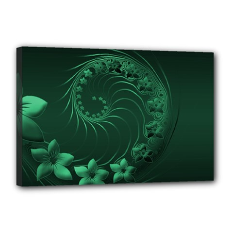 Dark Green Abstract Flowers Canvas 18  x 12  (Framed)