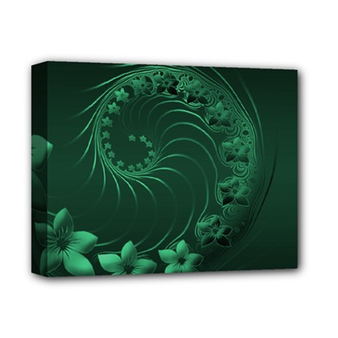 Dark Green Abstract Flowers Deluxe Canvas 14  X 11  (framed)