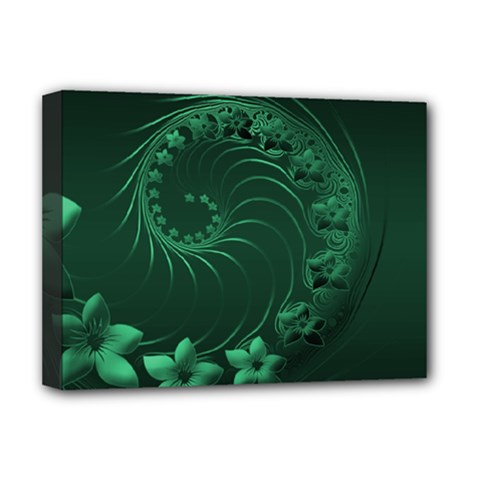 Dark Green Abstract Flowers Deluxe Canvas 16  X 12  (framed)
