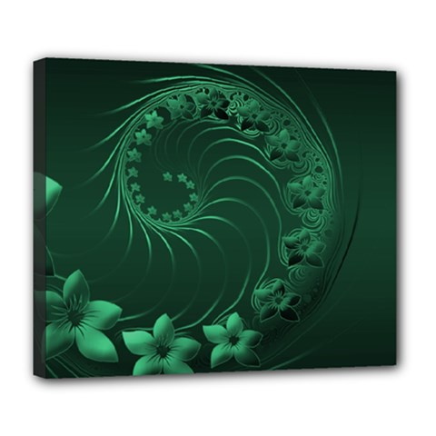Dark Green Abstract Flowers Deluxe Canvas 24  X 20  (framed)