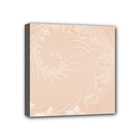 Pastel Brown Abstract Flowers Mini Canvas 4  X 4  (framed)