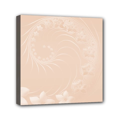 Pastel Brown Abstract Flowers Mini Canvas 6  x 6  (Framed)