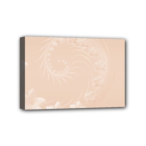 Pastel Brown Abstract Flowers Mini Canvas 6  X 4  (framed)