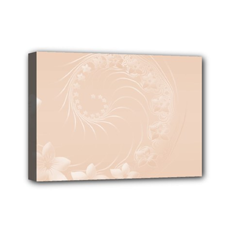 Pastel Brown Abstract Flowers Mini Canvas 7  x 5  (Framed)