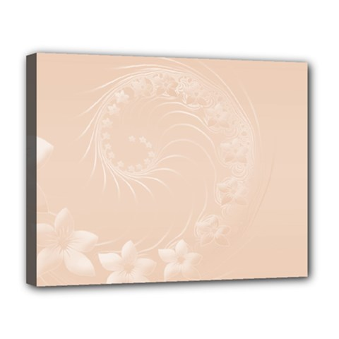 Pastel Brown Abstract Flowers Canvas 14  x 11  (Framed)