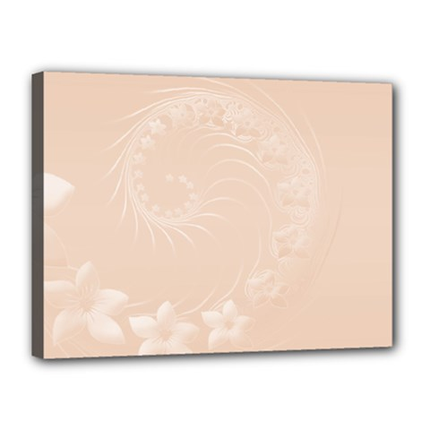 Pastel Brown Abstract Flowers Canvas 16  X 12  (framed)