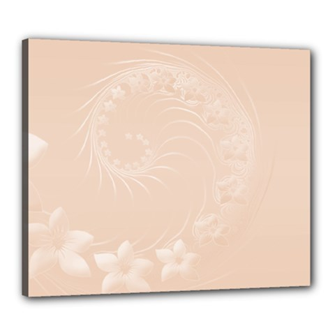 Pastel Brown Abstract Flowers Canvas 24  x 20  (Framed)