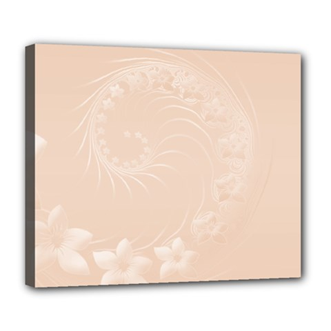 Pastel Brown Abstract Flowers Deluxe Canvas 24  x 20  (Framed)
