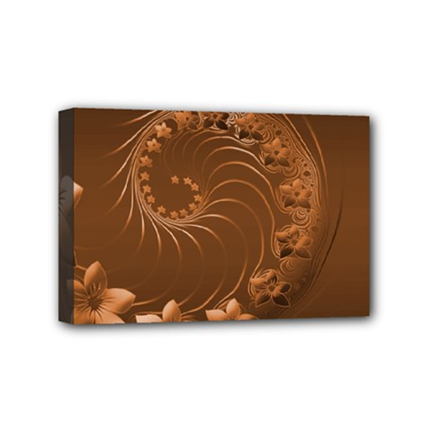 Brown Abstract Flowers Mini Canvas 6  X 4  (framed)