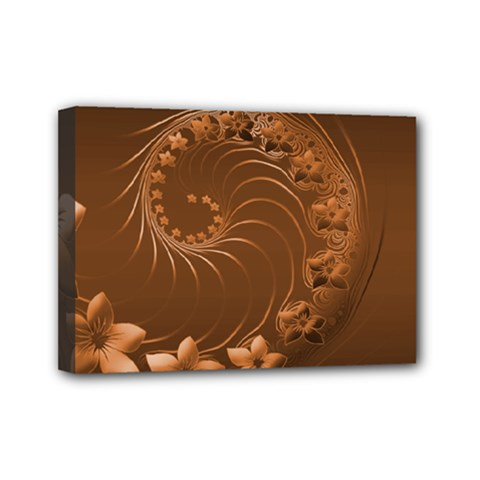 Brown Abstract Flowers Mini Canvas 7  X 5  (framed)