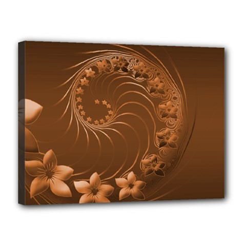 Brown Abstract Flowers Canvas 16  x 12  (Framed)