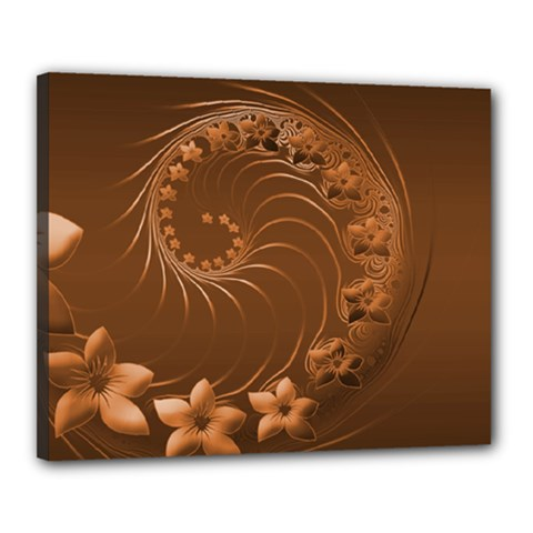 Brown Abstract Flowers Canvas 20  x 16  (Framed)