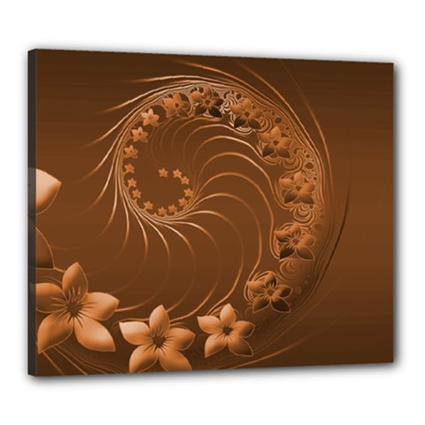 Brown Abstract Flowers Canvas 24  X 20  (framed)