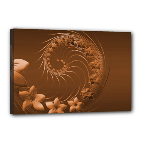 Brown Abstract Flowers Canvas 18  X 12  (framed)