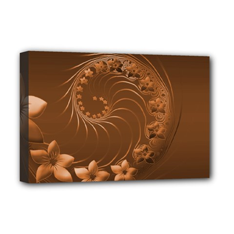 Brown Abstract Flowers Deluxe Canvas 18  X 12  (framed)