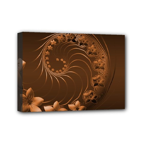 Dark Brown Abstract Flowers Mini Canvas 7  x 5  (Framed)