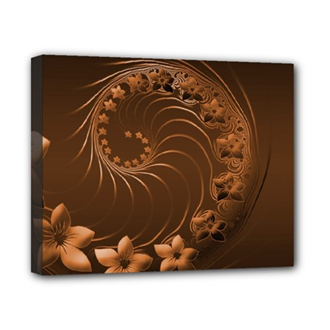 Dark Brown Abstract Flowers Canvas 10  x 8  (Framed)