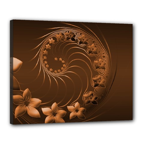 Dark Brown Abstract Flowers Canvas 20  x 16  (Framed)
