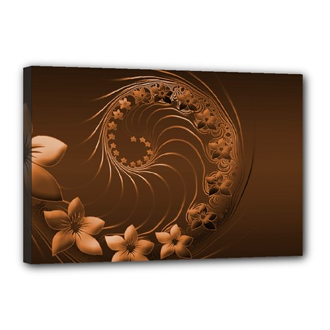 Dark Brown Abstract Flowers Canvas 18  x 12  (Framed)