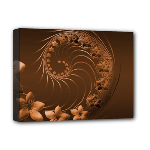 Dark Brown Abstract Flowers Deluxe Canvas 16  x 12  (Framed)